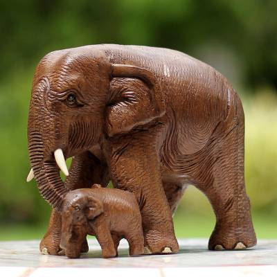 Teak wood sculpture, 'Love and Care in Brown' - Brown Teak Wood Sculpture of Mother and Child Thai Elephants