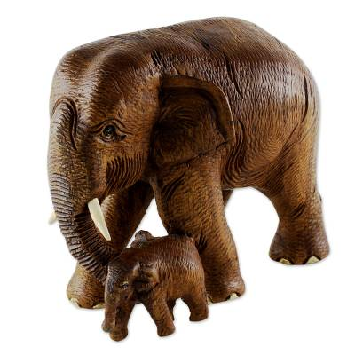 Brown Teak Wood Sculpture of Mother and Child Thai Elephants