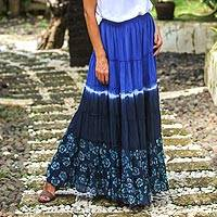 Batik cotton skirt, 'Festive Summer in Royal Blue' - Tie Dye Batik Cotton Skirt in Royal Blue and Black Thailand