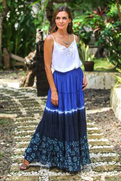 Tie-dyed cotton skirt, 'Boho Batik in Royal Blue' - Tie-Dyed Cotton Skirt in Royal Blue and Black Thailand