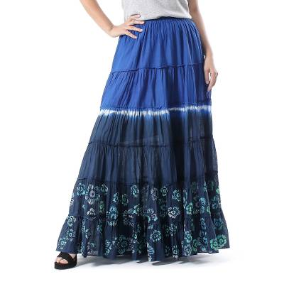 Tie-Dyed Cotton Skirt in Royal Blue and Black Thailand