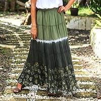 Batik cotton skirt, 'Festive Summer in Olive' - Tie Dye Batik Cotton Skirt in Olive and Coal Black Thailand