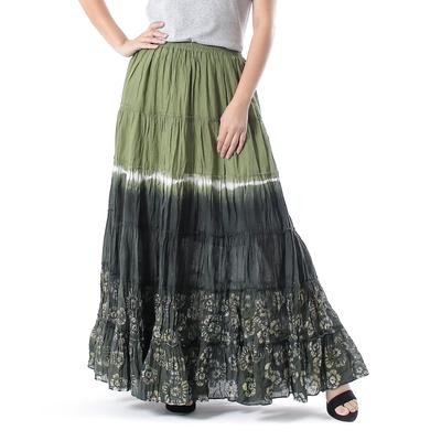 Tie Dye Cotton Batik Skirt in Olive and Coal Black Thailand