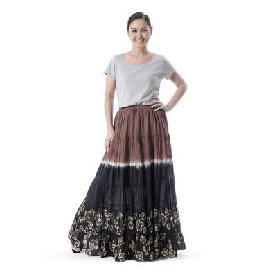 Tie Dye Batik Cotton Skirt in Brown and Coal Black Thailand