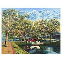 'Another Side of Chiang Mai Moat' - Impressionist Painting of a Tree-Lined Moat from Thailand
