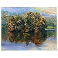 'Ang Kaew in Summer' - Signed Impressionist Painting of a Reservoir from Thailand
