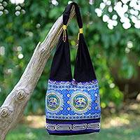 Cotton blend shoulder bag, 'Spiral and Shine' - Blue and Black Cotton Blend Shoulder Bag with Elephant Motif