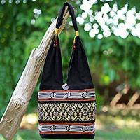Cotton blend shoulder bag, 'Charming Thai in Black' - Black Cotton Blend Shoulder Bag from Thailand