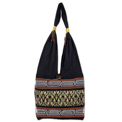 Black Cotton Blend Shoulder Bag from Thailand