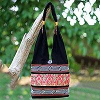 Cotton blend shoulder bag, 'Charming Thai in Red' - Red and Black Cotton Blend Shoulder Bag from Thailand
