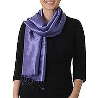Silk scarf, 'Otherworldly in Blue-Violet'