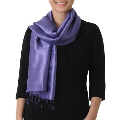 Silk scarf, 'Otherworldly in Blue-Violet' - Hand Woven Fringed Silk Scarf in Blue-Violet from Thailand