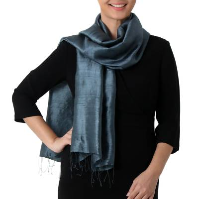 Silk scarf, 'Otherworldly in Iron Grey' - Hand Woven Fringed Silk Scarf in Iron Grey from Thailand