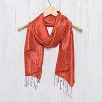 Silk scarf, 'Otherworldly in Vermilion' - Hand Woven Fringed Silk Scarf in Vermilion from Thailand