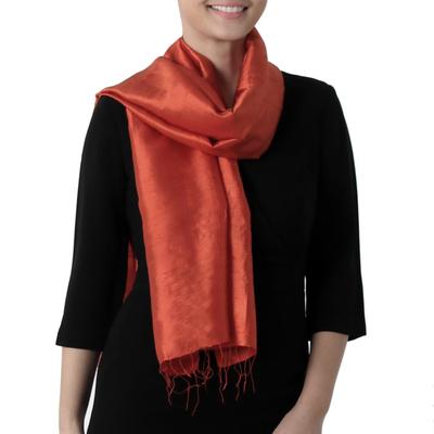 Silk scarf, 'Otherworldly in Vermilion' - Hand Woven Fringed Silk Scarf in Vermilion from Thailand