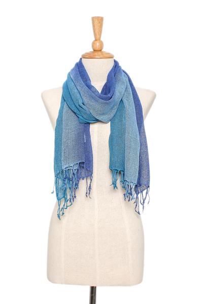 Silk scarf, 'Blue Denim Summer' - Hand Woven Fringed Silk Scarf in Denim Blue from Thailand