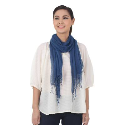 Silk scarf, 'Azure Summer' - Hand Woven Fringed Silk Scarf in Azure from Thailand