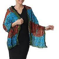Tie-dyed silk shawl, 'Dreamlike Dance' - Hand Woven Tie Dye Silk Shawl in Multicolor from Thailand