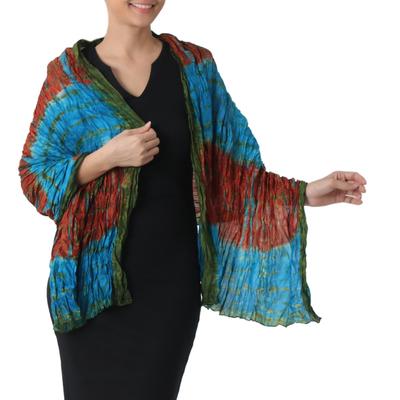 Tie-dyed silk shawl, 'Dreamlike Dance' - Hand Woven Tie Dye Silk Shawl in Multicolor from Thailand