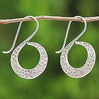 Silver floral drop earrings, 'Floral Swan' - Women's Silver Floral Drop Earrings from Thailand