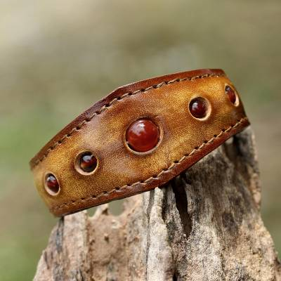 Carnelian cuff bracelet, 'Carnelian Power' - Carnelian Cuff Bracelet in Leather Handmade in Thailand