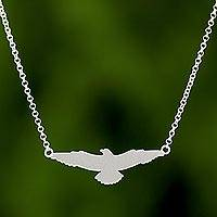 Sterling silver pendant necklace, 'Soaring Eagle' - Freedom Eagle in 925 Sterling Silver Necklace Thai Jewelry