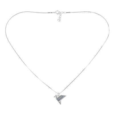 Origami Bird Sterling Silver Pendant Necklace from Thailand