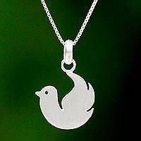 Sterling silver pendant necklace, 'Roosting Dove' - 925 Sterling Silver Dove Pendant Necklace from Thai Jewelry