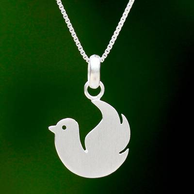 925 sterling silver dove pendant necklace from thai jewelry sterling silver pendant necklace roosting dove 925 sterling silver dove pendant necklace mozeypictures Image collections