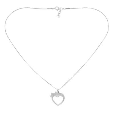 Cat and Heart Thai 925 Sterling Silver Pendant Necklace