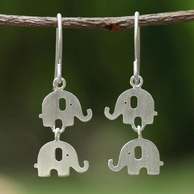 Novica Sterling silver dangle earrings, Loving Elephants - Sterling Silver Dangle Earrings from Thailand
