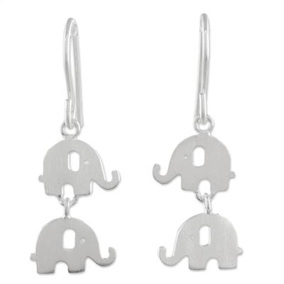 Sterling silver dangle earrings, 'Dangling Elephants' - Handmade Thai 925 Sterling Silver Elephant Hook Earrings