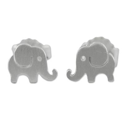 Sterling silver button earrings, 'Endearing Elephants' - Handmade Thai Sterling Silver Post Elephant Earrings