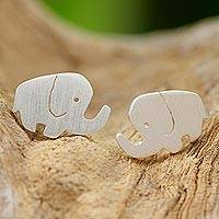 Sterling silver stud earrings, 'Happy Little Elephants' - Sterling Silver Elephant Stud Earrings from Thailand