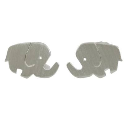 Sterling Silver Elephant Stud Earrings from Thailand