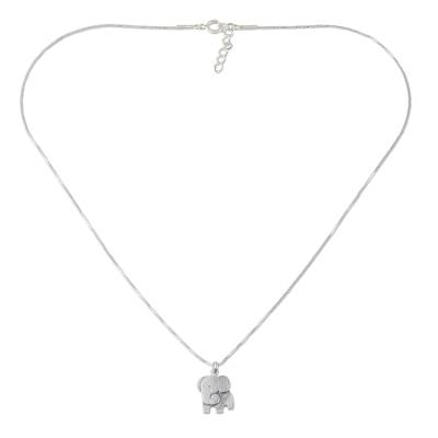 Sterling silver pendant necklace, 'Always Elegant' - Thai Sterling Silver Elephant Relief Pendant Necklace