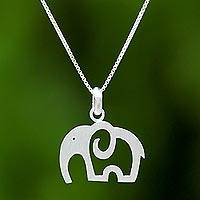 Sterling silver pendant necklace, 'Elephant Soul'