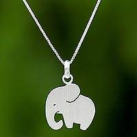 Sterling silver pendant necklace, 'Respectful Elephant' - Thai Sterling Silver Pendant Necklace of a Proud Elephant