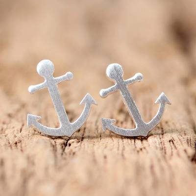 Sterling silver stud earrings, 'Ship Anchors' - Sterling Silver Nautical Anchor Stud Earrings from Thailand