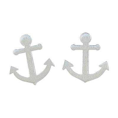 Sterling Silver Nautical Anchor Stud Earrings from Thailand