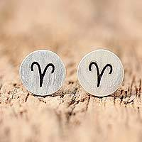 Sterling silver stud earrings, 'Satin Aries' - Sterling Silver Aries Stud Earrings from Thailand