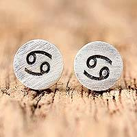 Sterling silver stud earrings, 'Satin Cancer' - Sterling Silver Cancer Stud Earrings from Thailand