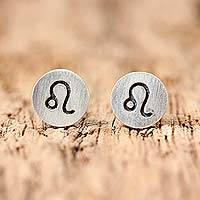 Sterling silver stud earrings, 'Satin Leo' - Sterling Silver Leo Stud Earrings from Thailand
