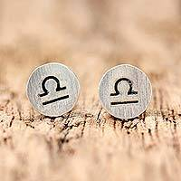 Sterling silver stud earrings, 'Satin Libra'