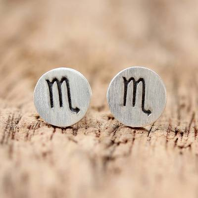 Sterling Silver Scorpio Stud Earrings from Thailand
