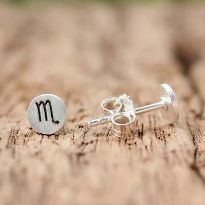 Sterling silver stud earrings, 'Satin Scorpio' - Sterling Silver Scorpio Stud Earrings from Thailand