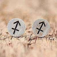 Sterling silver stud earrings, 'Satin Sagittarius' - Sterling Silver Sagittarius Stud Earrings from Thailand