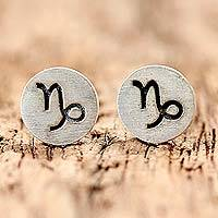 Sterling silver stud earrings, 'Satin Capricorn'