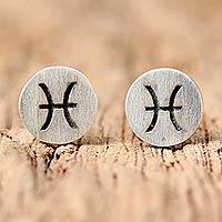 Sterling silver stud earrings, 'Satin Pisces'