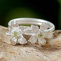 Peridot cocktail ring, 'Green Winter Blooms' - Thai Peridot and Sterling Silver Floral Cocktail Ring